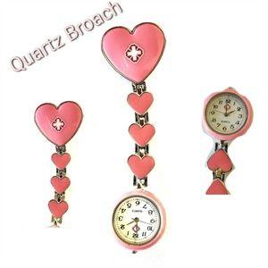 QUARTZ Pink Heart Watch Brooch Jewelry accessories